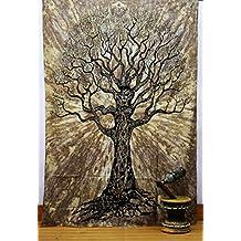 Hippie tapestries Queen Mandala Beach Hand Print Spear BedSpread Intricate Indian Bedspread 92x82