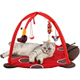 Freeas Dog Cat Mobile Activity Play Mat Pet Padded Bed with Hanging Toys Bells Balls and Mice (A7)