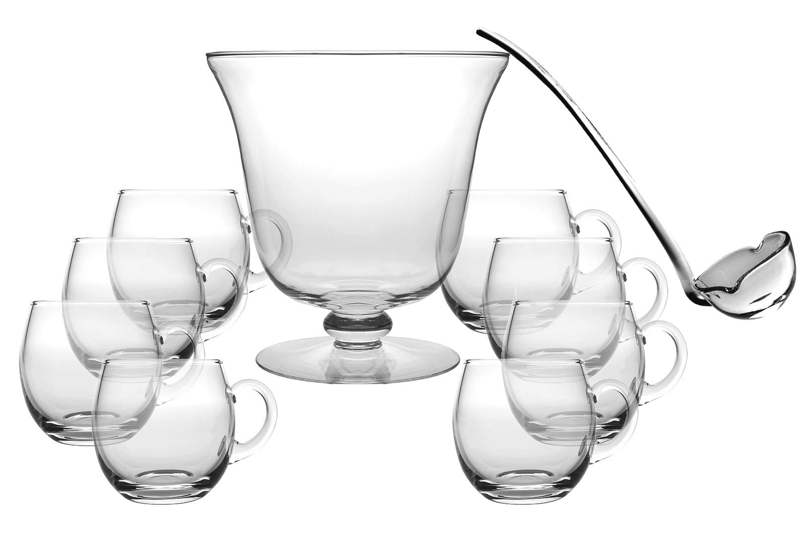 Glass 10 Piece Punch Bowl Set - Includes - 1 Punch Bowl - 1 Ladle - 8 Punch Cups - By Barski - Punch Bowl is 10.25'' D - 210 oz - Ladle is 14'' L - Punch Cup is 12 oz. - Made in Europe