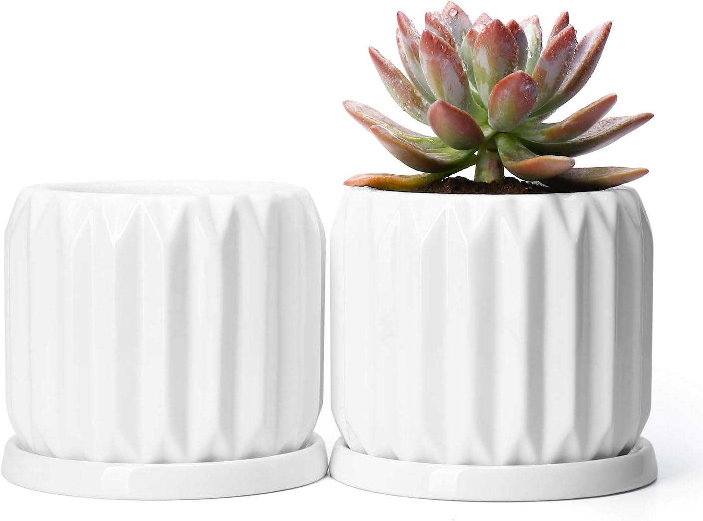 Potey Ceramic Plant Flower Pots Planters – 4.4 Medium Midcentury Planter with Drain Hole, Saucer Deco Indoor – Set of 2, Pure White, Mode 1
