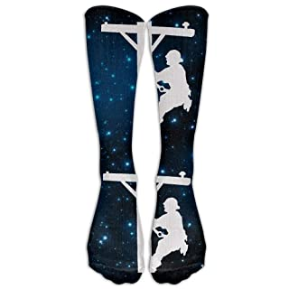 Funny Caps Lineman On A Pole Statue Casual Unisex Sock Knee Long High Socks Sport Athletic Crew Socks 19.68 in/50 cm