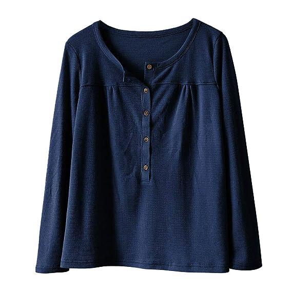 Yvelands Moda Mujer Blusa Color sólido Camisa de Manga Larga con Cuello en V Botón Causal Top: Amazon.es: Ropa y accesorios