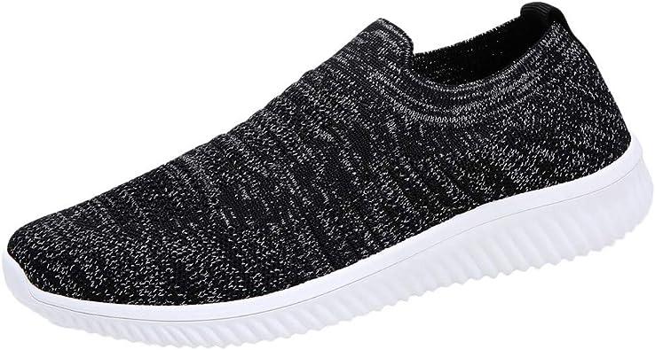 Zapatillas Deportivas de Mujer Verano 2019 PAOLIAN Zapatos de Deporte Running Comodas Vestir Señora Casual Calzado de Plano Damas Sólido Sin Cordones Talla Grande 35-43 EU (35 EU, Negro-1): Amazon.es: Zapatos y complementos
