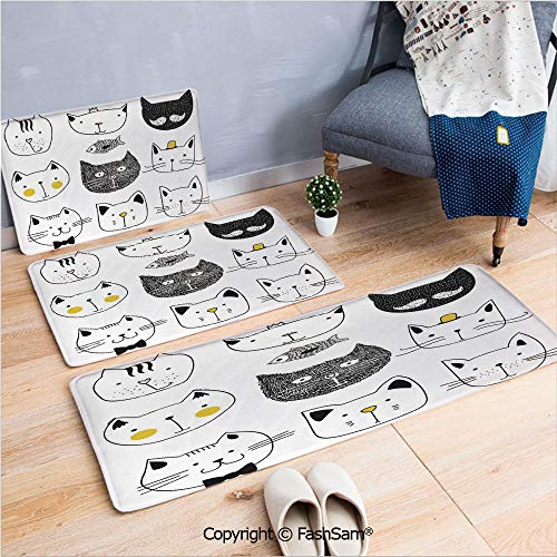 3 Piece Non Slip Flannel Door Mat Stylish Cats with Moustache Bow Tie Hat Crown Fluffy and Fish Humor Faces Graphic Indoor Carpet for Bath Kitchen(W15.7xL23.6 by W19.6xL31.5 by W19.6xL59) ()