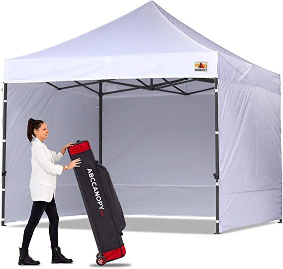 Beige ABCCANOPY Canopy Tent Popup Canopy 10x10 Pop Up Canopies Commercial Tents Market stall with 6 Removable Sidewalls and Roller Bag Bonus 4 Weight Bags and 10ft Screen Netting and Half Wall