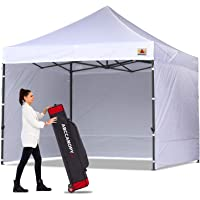 ABCCANOPY Canopy Tent Popup Canopy 10x10 Pop Up Canopies Commercial Tents Market stall with 6 Removable Sidewalls and Roller Bag Bonus 4 Weight Bags and 10ft Screen Netting and Half Wall, White