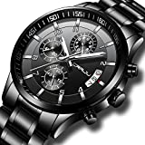 CRRJU Men's Six-pin Multifunctional Chronograph Wristwatches,Stainsteel Steel Band Waterproof Watch for Men Black dial