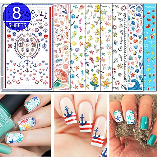 TailaiMei 3D Summer Nail Decals Stickers, 1000+ Pcs Self-adhesive Tips DIY Nail Art Design Stencil (8 Large Sheets)
