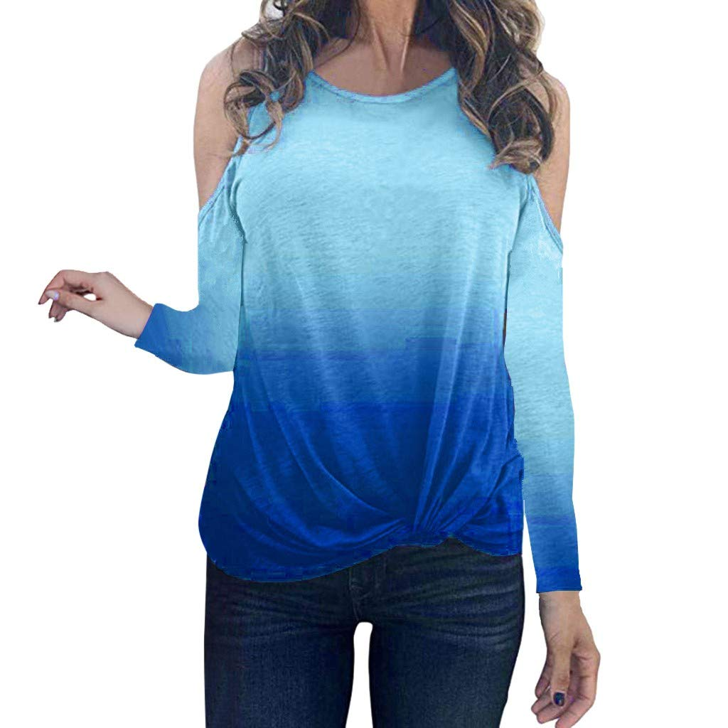 Oldlover✚Gradient Long Sleeve Round Neck Sweatshirt Casual Knotted Tops Blouses Fashion Cold Shoulder T-Shirts Pullovers Sky Blue by Oldlover-Women
