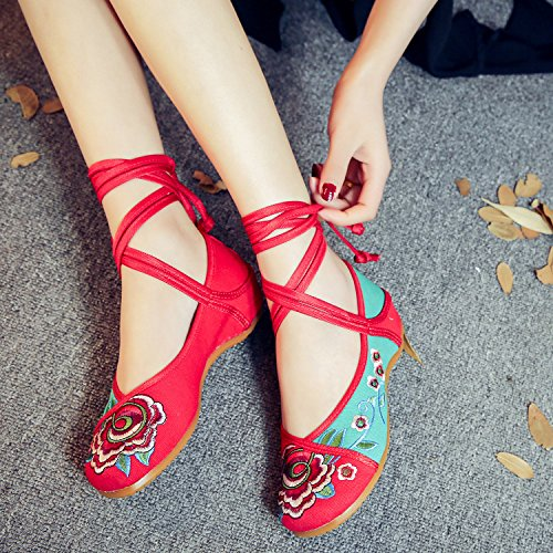 DESY Gestickte Schuhe, Sehnensohle, ethnischer Stil, weibliche Tuchschuhe, Mode, bequem, lässig innerhalb der Zunahme Green
