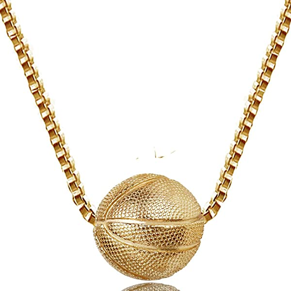 Amazon.com  Basketball Pendant Clavicle Necklace Stainless Steel Chain  Fitness Jewelry for Women Men (Gold)  Jewelry bd13b6829e