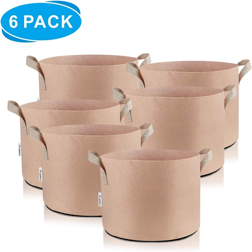 TopoLite 25Gal 6Pcs Tan Grow Bags Aeration Fabric Pots Plant Container for Nursery Garden and Planting 25Gal 6Pcs Tan