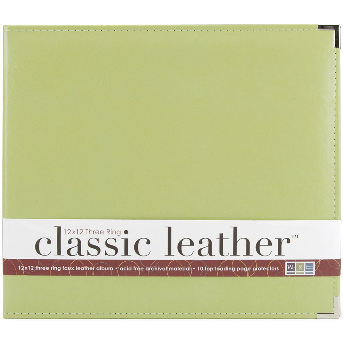 We R Memory Keepers 660916 Classic Leather D-Ring Album 12''X12''-Kiwi