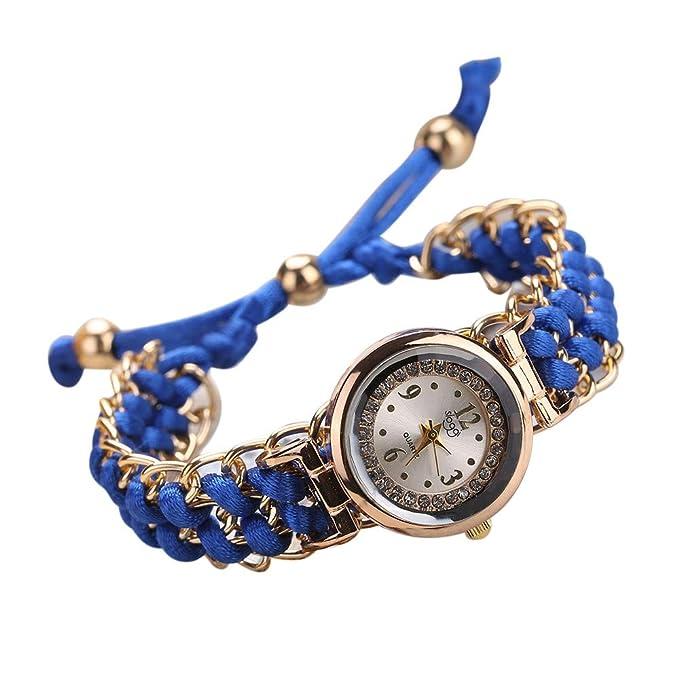 Yvelands Liquidación Mujeres Cuerda de Tejer Cuerda Bobinado Analógico Movimiento de Cuarzo Reloj de Pulsera (