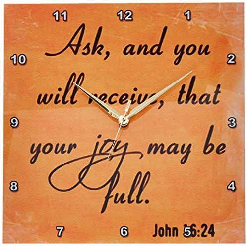 3dRose dpp_150081_2 Bible Verse John 16-24 Orange Background Bible Christian Inspirational Saying Wall Clock, 13 by 13-Inch For Sale