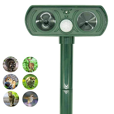 ZOVENCHI Ultrasonic Animal Repeller, Solar Powered Pest Repeller,  Waterproof Outdoor Repellent with Motion Activated PIR Sensor, Repel Dogs,  Cats,