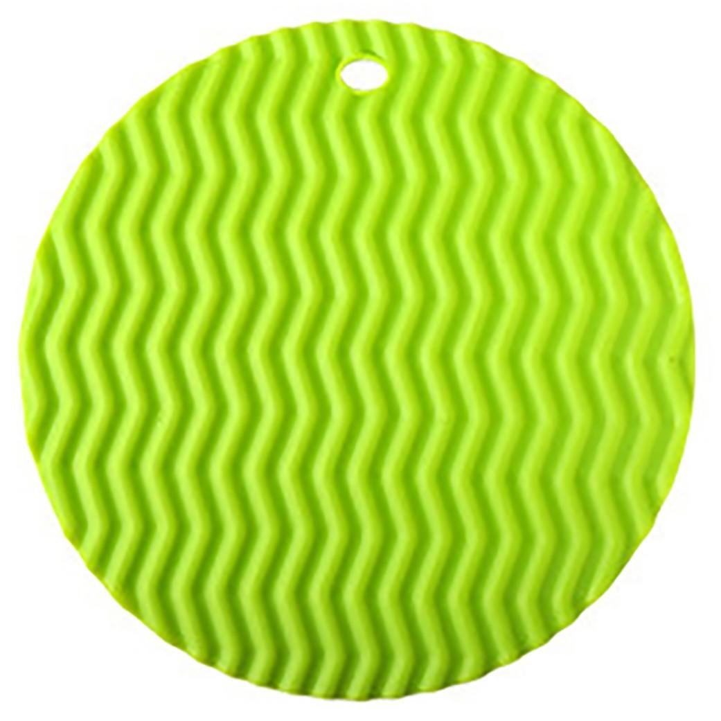 Voberry Kitchen Round Type Insulation Hot Pad Silicone Pot Holder (Green)