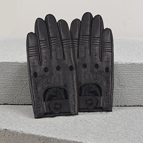GSG Mens Punk Rock Gloves Genuine Leather Gloves Perforated Fitness Gloves Cool Driving Cycling Gloves for Men Black 9.5 by GSG (Image #2)