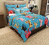 Home Candy 144 TC Kids Cotton Double Bedsheet with 2 Pillow Covers - Blue