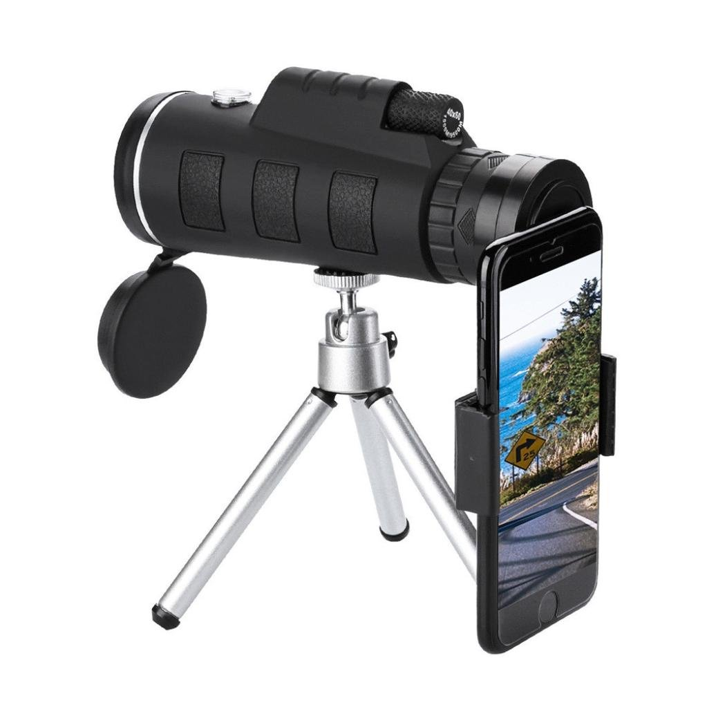 YRD Tech for Universal Phone Monocular Telescope-Zoom Optical HD Lens,Resistance to Shock,Zoom Optical HD Lens,BAK4 Prism & FMC,Oversized Eyepiece with Tripod and Clip (Black A, 40x60)