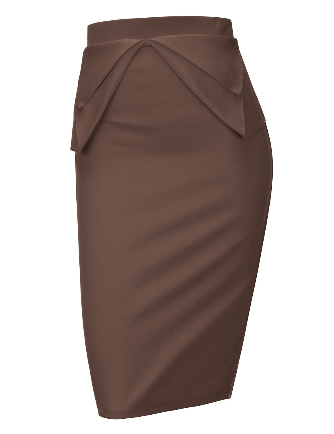 Regna X Womens high Waist Elastic Band Sexy Knee Length Skirts Brown XL by Regna X (Image #2)