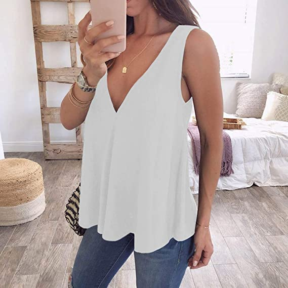 d745814c022345 Amazon.com  KASIDN Women s Plus Size Tank Tops Loose Casual Solid V-Neck  Tunic Tank Tops for Leggings Sleeveless Blouse Vest White  Clothing