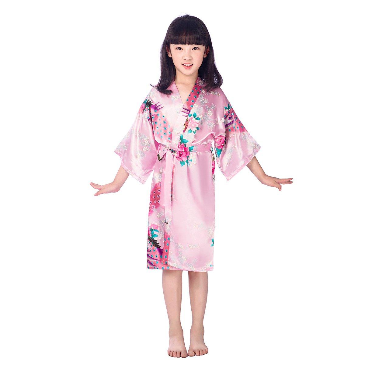 Tinksky Kids Satin Kimono Robe Girls' Silk Sleepwear Nightgown Peacock Bathrobe for Spa Party Wedding Birthday Size 10(Pink) A20M145933MV80S5199
