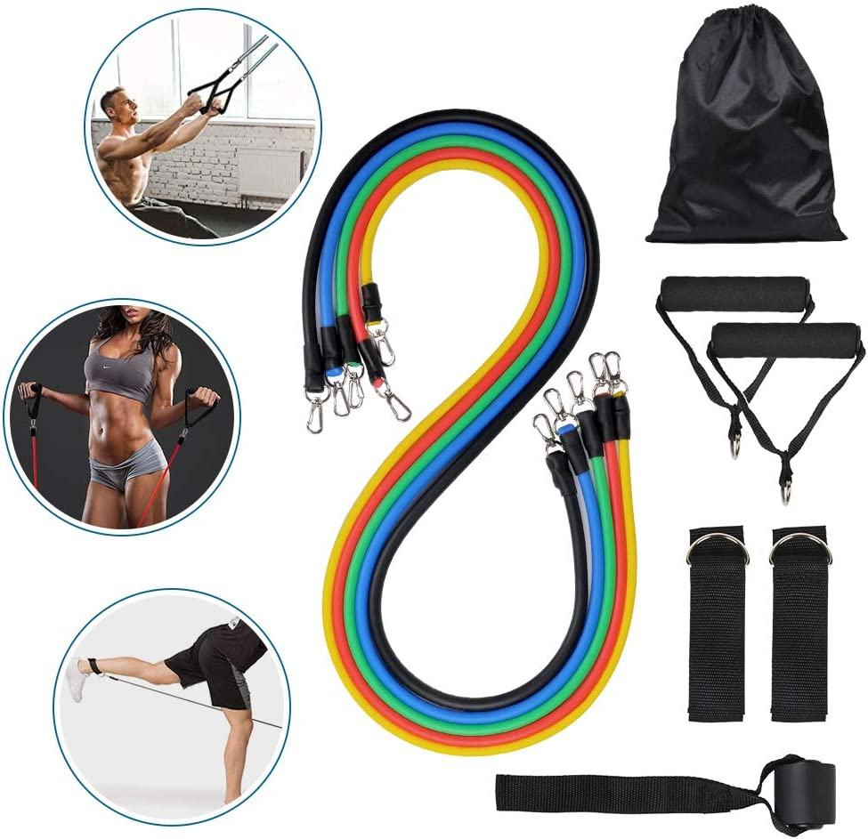 Handles Legs Ankle Straps for Resistance Training,Home Workouts Meja Exercise Resistance Bands with Handles Carry Bag 5 Fitness Workout Bands Stackable up to 100 lbs,with Door Anchor