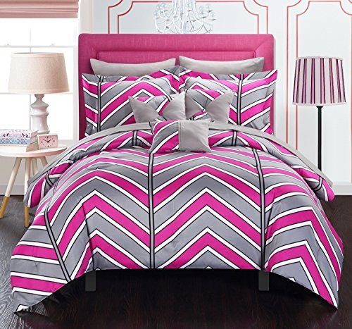 Chic Home 10 Piece Surfer Chevron and Geometric printed REVERSIBLE King Bed In a Bag Comforter Set Fuchsia Sheets set and Deocrative pillows included by Chic Home by Chic Home