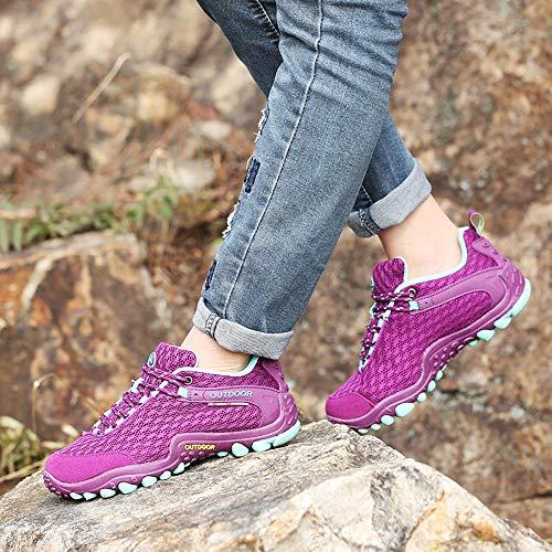 Y Montaña Para Libre Transpirable Zapatos Cordones Deportes Morado De Running Zapatillas Deportivas Senderismo Malla Antideslizante Aire Correr Mujer Tefamore Casuales fqzA0A
