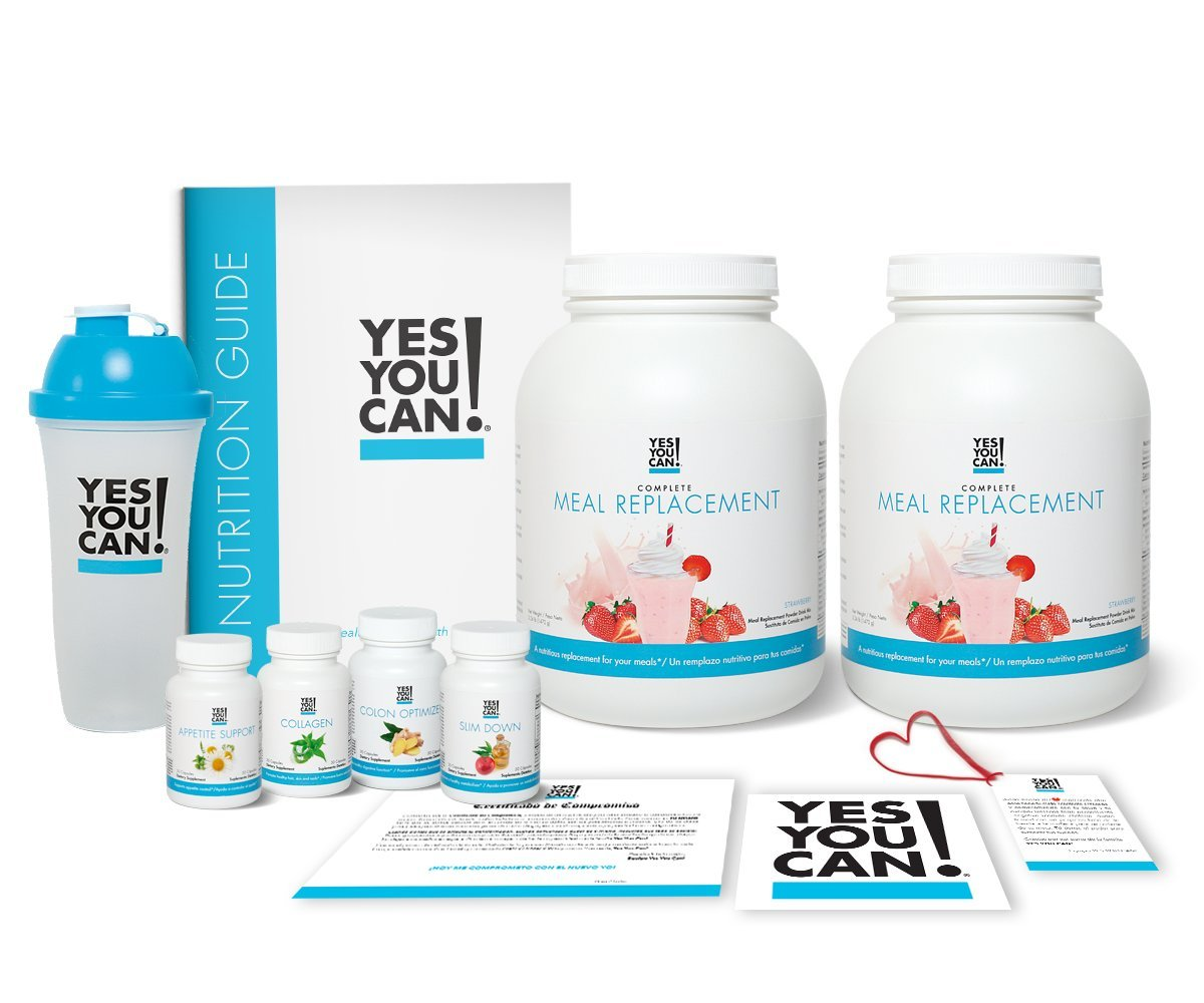 Yes You Can! Transform Kit: On-The-Go 60 Servings, Twice a Day, Contains: Two Complete Meal Replacement Strawberry, One Slim Down, One Appetite Support, One Collagen, One Colon Optimizer, One Shaker