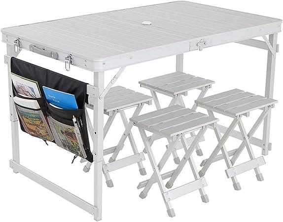 Mesa Plegable Exterior Impermeable al aire libre plegable Juego de mesa con 4 sillas y bolsa