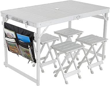 Mesa Plegable Exterior Impermeable al aire libre plegable Juego de mesa con 4 sillas y bolsa de transporte con altura ajustable for el campamento al picnics en la playa Comedor para patio