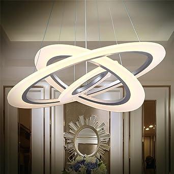 70W LED Modern Acryl Pendelleuchte Drei Ringe Deckenlampe Kreative Kronleuchter Warmweiss Luster SMD Lampe Perlen
