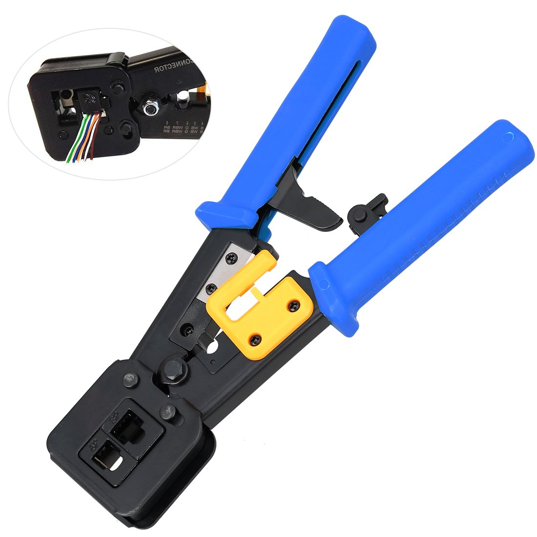 RJ45 Crimp Tool for RJ11/RJ12 Network and Telephone Cables EZ Pass-Through and Legacy connectors | Professional High Performance Crimper Tool SUPAREE