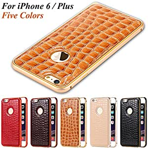 Exclusive Crocodile Back Case for iPhone 6 Plus 5.5 PU Leather + Aviation Aluminum Frame Deluxe Cellphone Cover For iPhone6 Plus --- Color:Hot pink