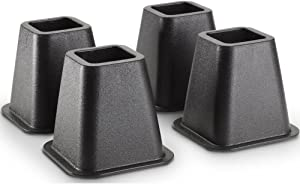 Creative Bath Products Bed and Furniture Risers (4-Count), Black