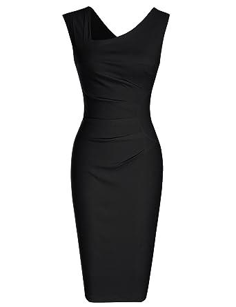 7346d858ce9bf MUXXN Women s Classic V Neck Shirring Waist Bodycon Vintage Dress (S Black)