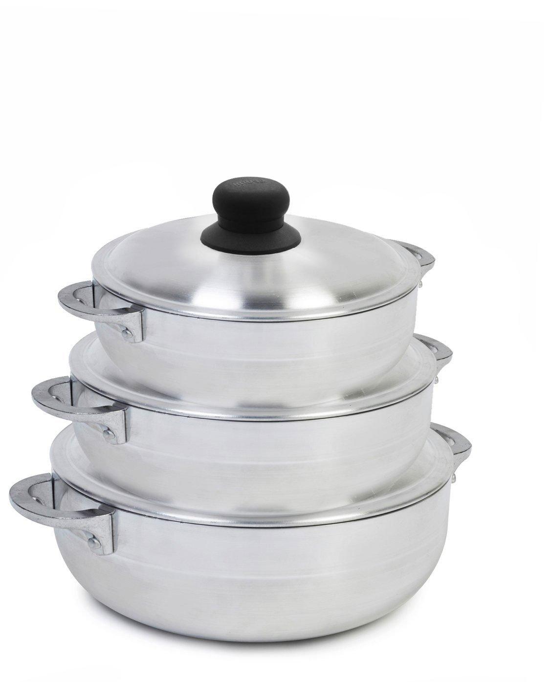 IMUSA USA GAU-89226 3 Piece Polish Aluminum Caldero Set, Silver (Dutch Oven Set) by Imusa