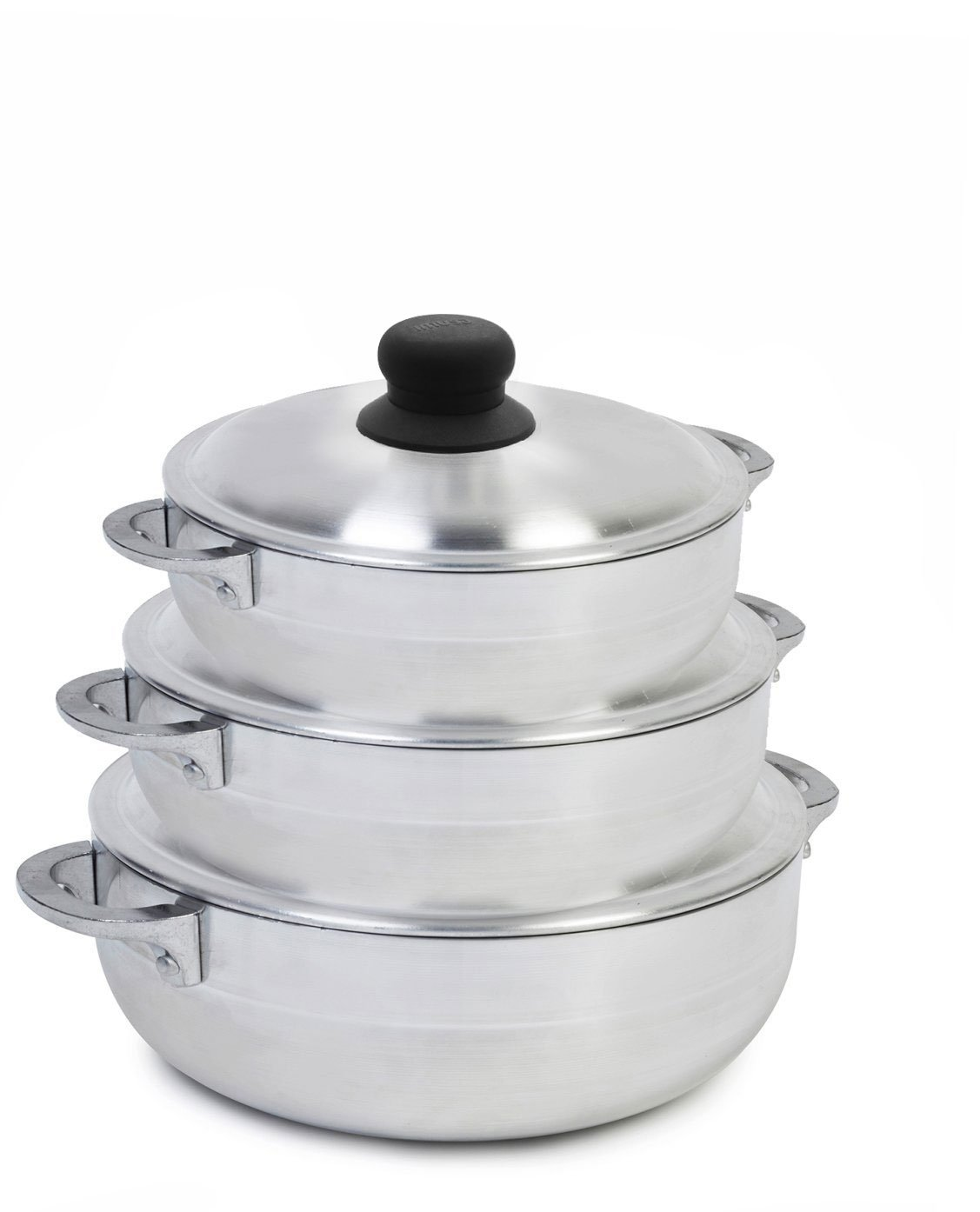 IMUSA USA GAU-89226 Polish Aluminum Caldero Set 3-Piece, Silver