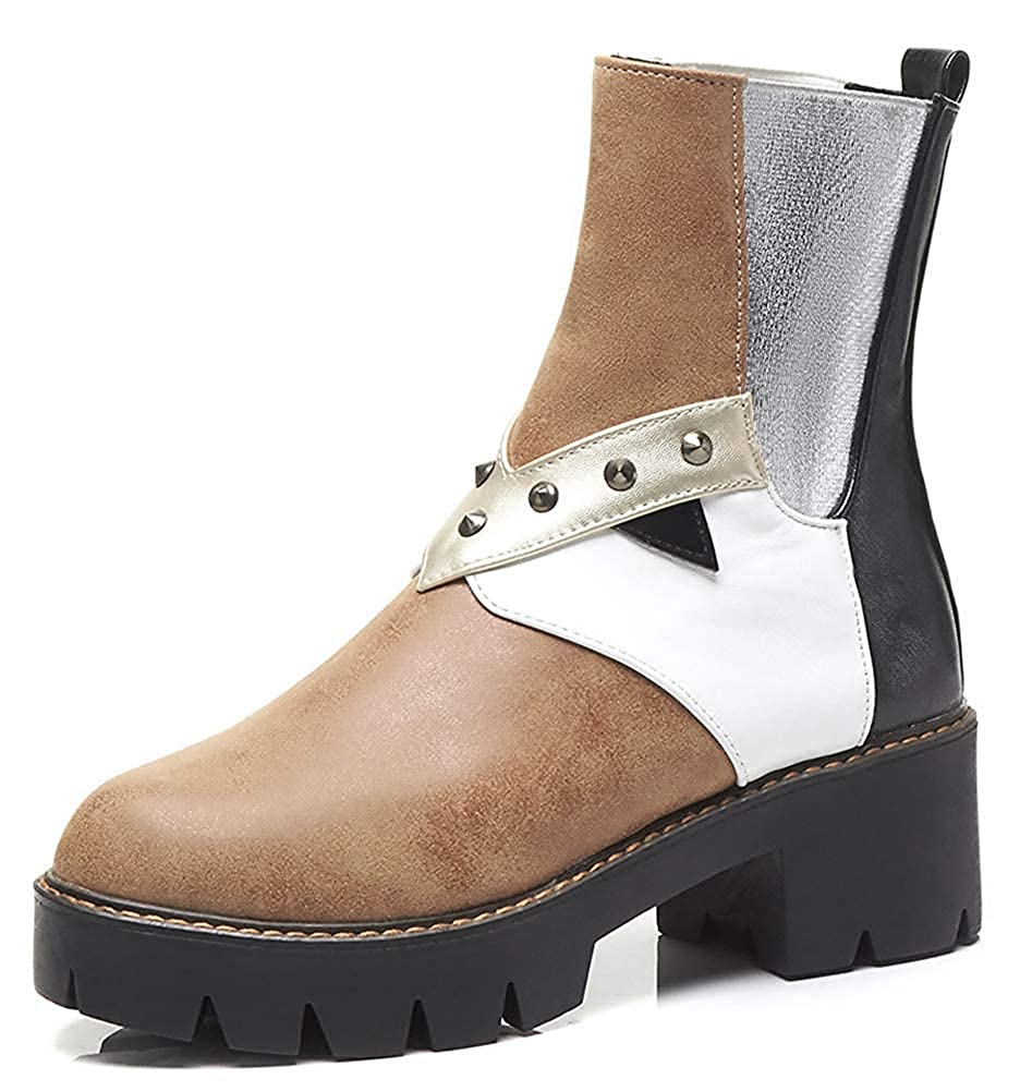 Womens Color-Contrasted Studded Mid Block Heel Short Booties Elastic Pull On Round Toe Platform Ankle Boots