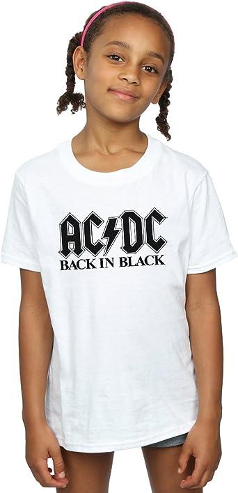 AC/DC niñas Back in Black Logo Camiseta: Amazon.es: Ropa y ...