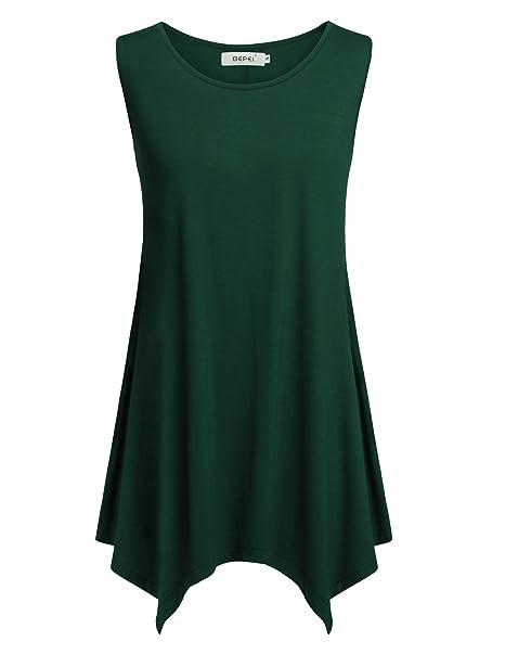 Amazon.com: BEPEI - Camiseta sin mangas para mujer, cuello ...