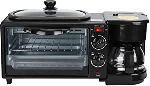 POCREATION 3 in 1 Breakfast Machine,Breakfast Station Toaster Oven Electric Breakfast Maker Machine Oven Non-Stick Grill for Afternoon Tea Family