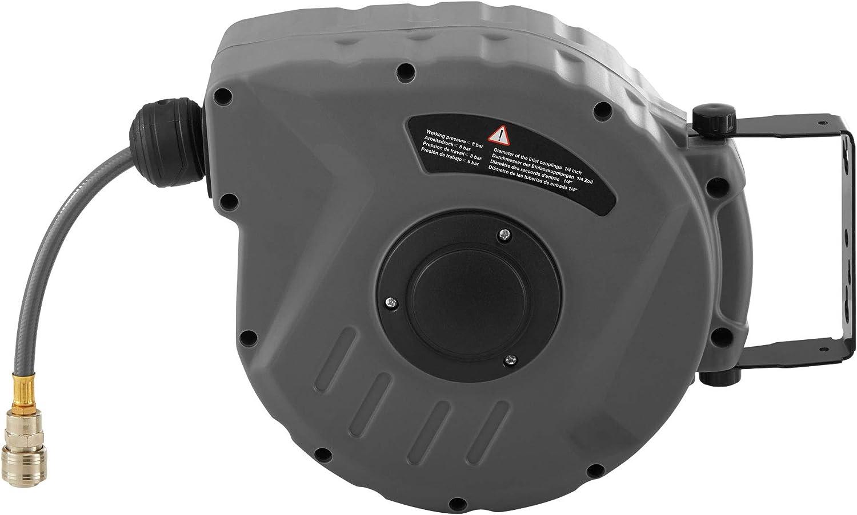 Wandhalterung tectake 800801 Druckluftschlauch Aufroller mit /¼ Zoll Schnellkupplung diverse L/ängen - Aufroll-Automatik mit Schlauchstopp 10 m | Nr. 403429 automatische Schlauchtrommel