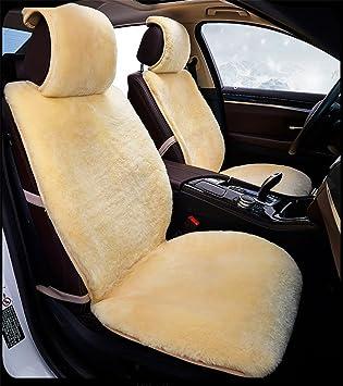 RUIRUI Universal Full Set Of Deluxe Sheep Skin Wool Car Seat Cover Cushion Beige