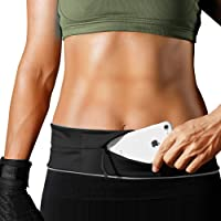 PORTHOLIC Running Belt,Fitness Belt,Flip Belt with zipper,Waist Pack Workout Belt for Outdoors Activities,Reflective Waistband for Men/Women, Phone holder fits iPhone X/8/7/6 Plus and Android phones