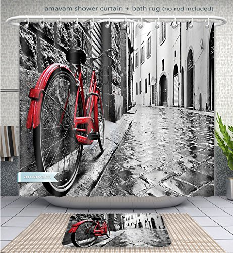 Bike Street Suit (Amavam Bathroom 2-Piece Suit Classic Bike On Cobblestone Street In Italian Town Leisure Charm Artistic Photo Red Black And White Shower Curtain And Bath Rug Set, 71