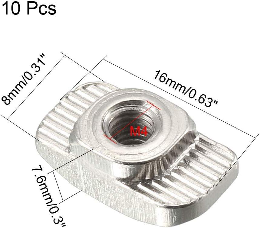 sourcing map 10Stk T-Muttern f/ür 2020 Serie stranggepresstem Aluminium Profil Gewinde M4