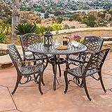 Covington | 5 Piece Cast Aluminum Outdoor Dining Set | Perfect For Patio | in Bronze
